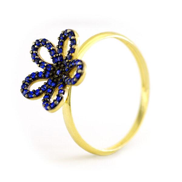 Anel Flor azul-0