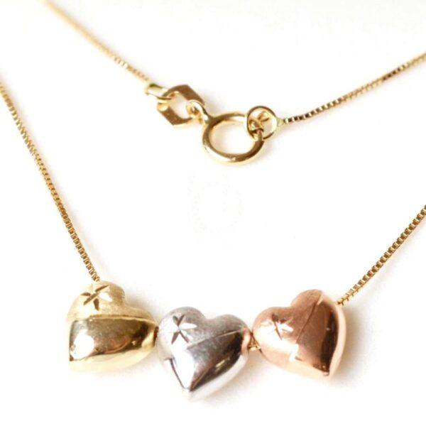 Corrente em Ouro com 3 Corações-0