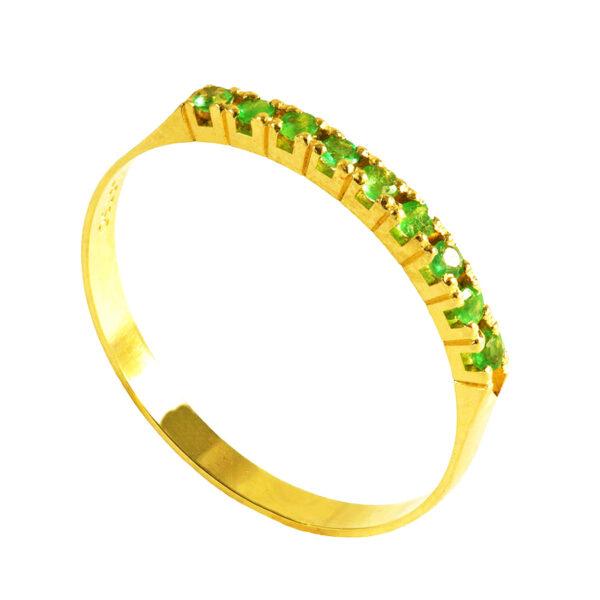 Meia aliança em Ouro com Esmeralda-0