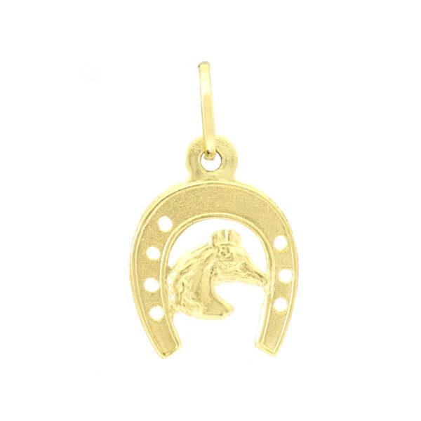 Pingente Ferradura e Cavalo em Ouro 18K-0