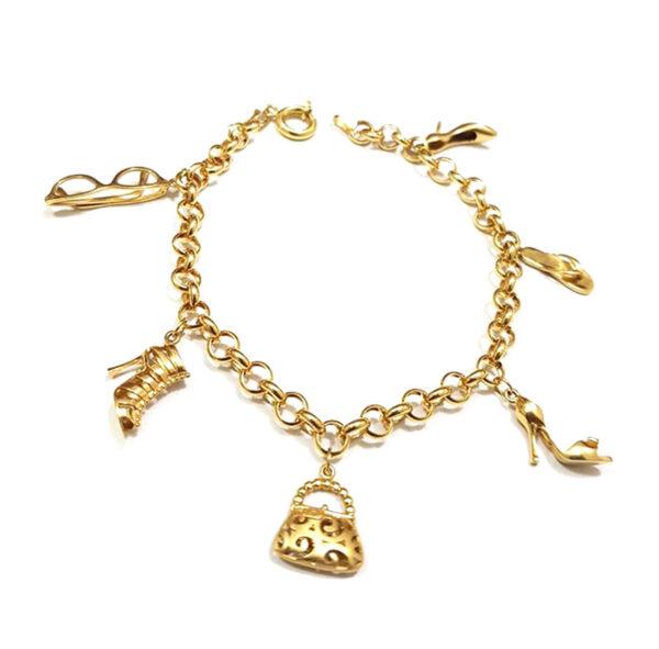 Pulseira em ouro com pingentes acessórios-898