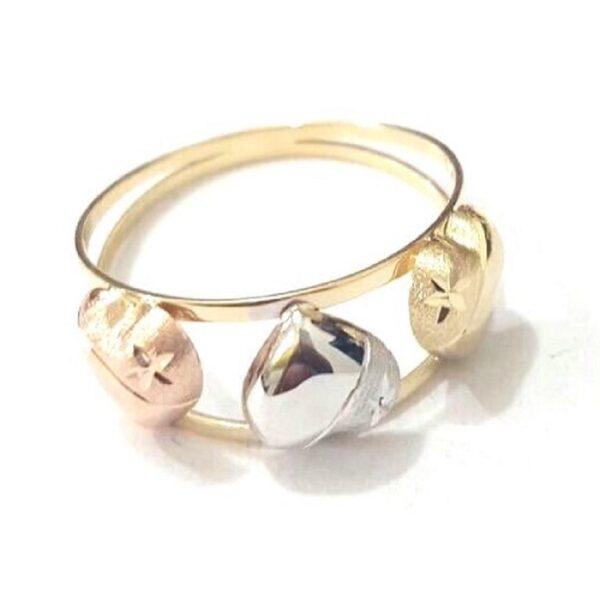 Anel de ouro com coração amarelo branco e rosê-0