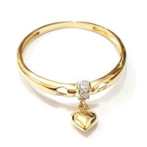 Anel em ouro com um delicado pingente coração-0