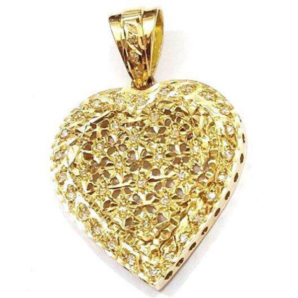 Pingente coração com brilhantes-536