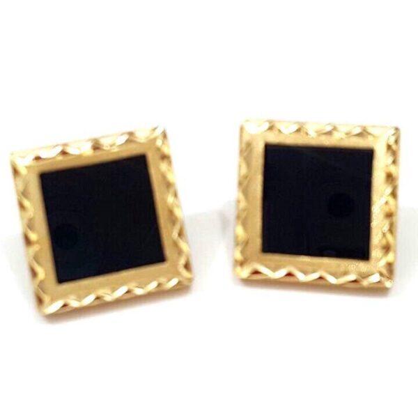Brinco em ouro com cristal negro-0