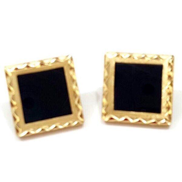 Brinco em ouro com cristal negro-552