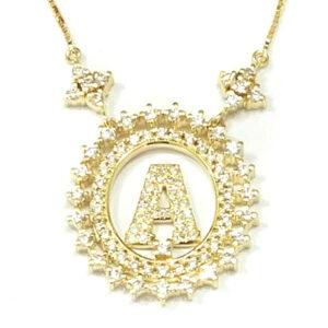Gargantilha em ouro com a inicial do nome cravejado de zircônias-0