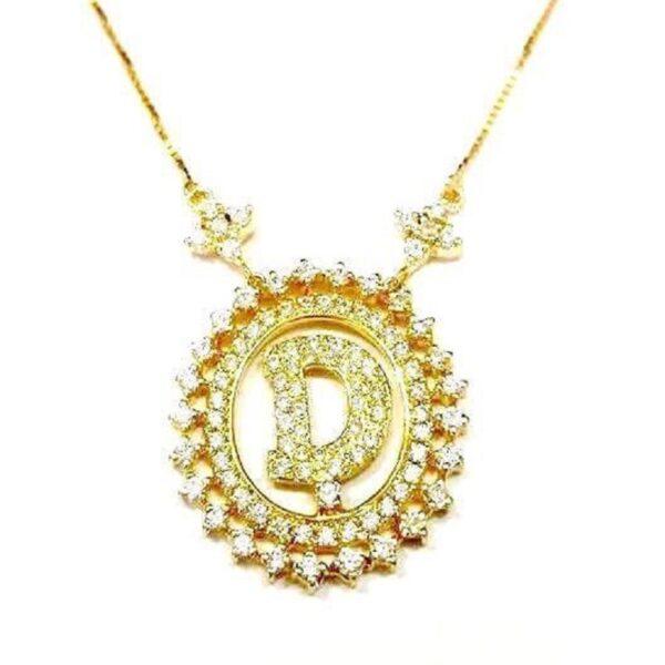 Gargantilha em ouro com a inicial do nome cravejado de zircônias-568