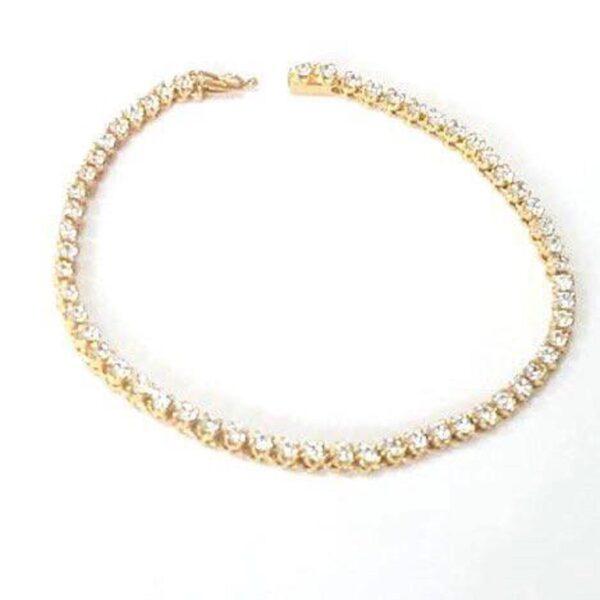 Pulseira em ouro com pedras zircônias-0
