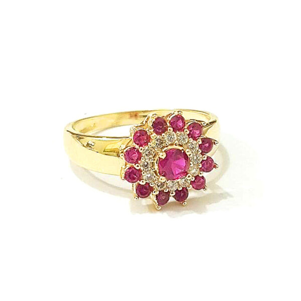 Anel flor rosa -0
