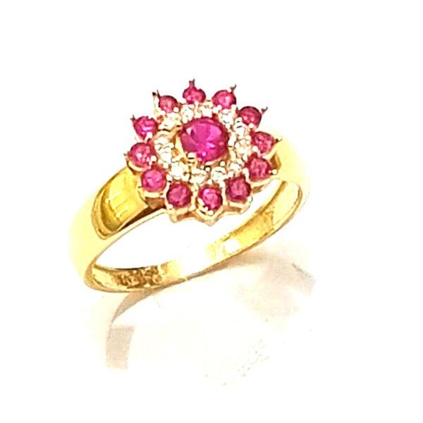 Anel flor rosa -674